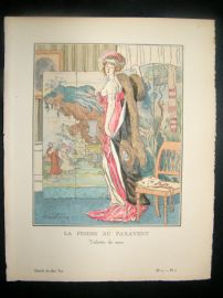 Gazette du Bon Ton by Faivre 1912 Art Deco Pochoir. La Femme au Paravent